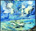 Galina Al'bertovna Bystritskaya : Clouds and a Boat.Maldivas